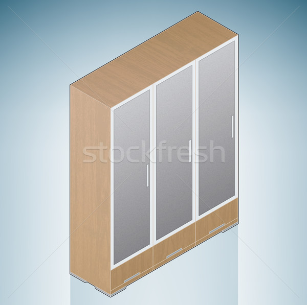 Furniture: Bedroom Cupboard with Glass Doors Stock photo © Vectorminator