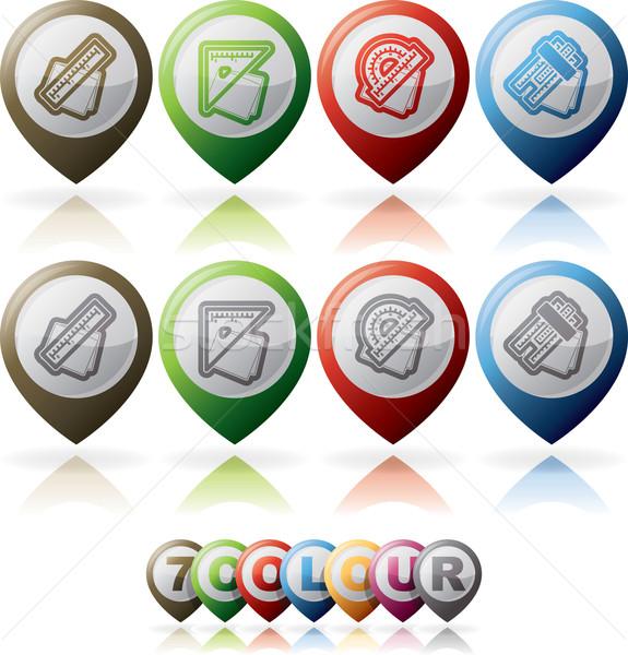 Escritório fornecer objetos ícones direito governante Foto stock © Vectorminator