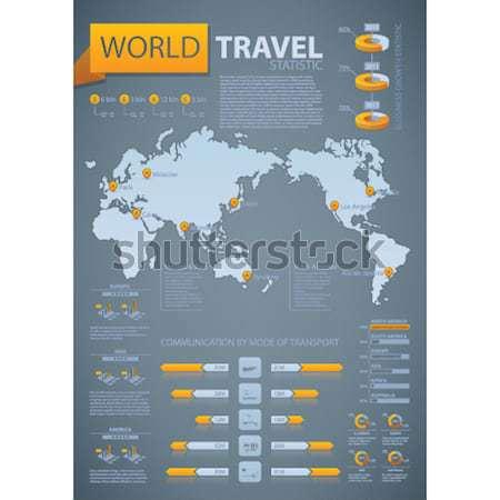 Infografika világutazás statisztikai óceán szürke narancs Stock fotó © Vectorminator