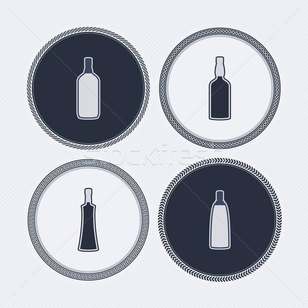 Alkohol üvegek ikonok el különböző formák Stock fotó © Vectorminator