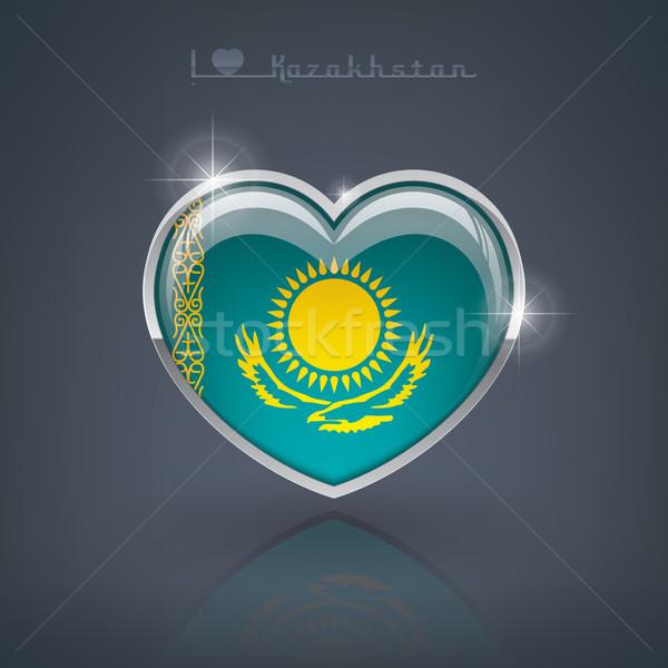 Cazaquistão forma de coração bandeiras república coração Foto stock © Vectorminator
