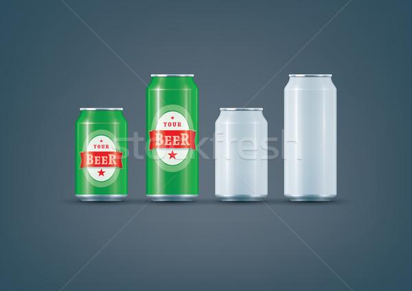 белый можете пива премия Сток-фото © Vectorminator