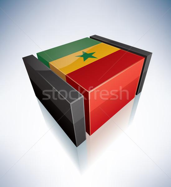 3D zászló Szenegál Afrika köztársaság zászlók Stock fotó © Vectorminator