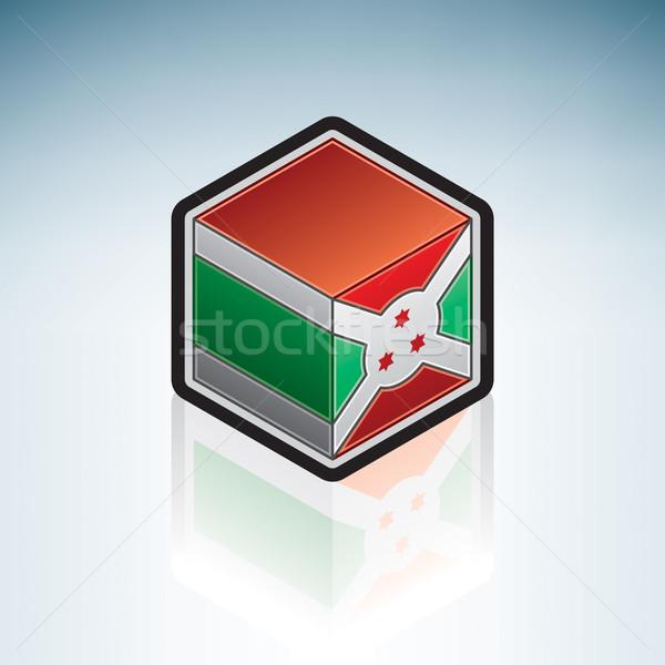 Burundi África bandeira república 3D isométrica Foto stock © Vectorminator