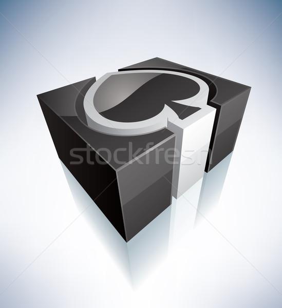 3D podpisania pik zielone symbol alfabet Zdjęcia stock © Vectorminator
