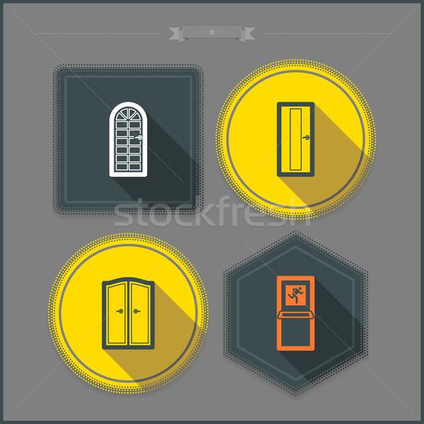 дома объекты право Top нижний стекла Сток-фото © Vectorminator