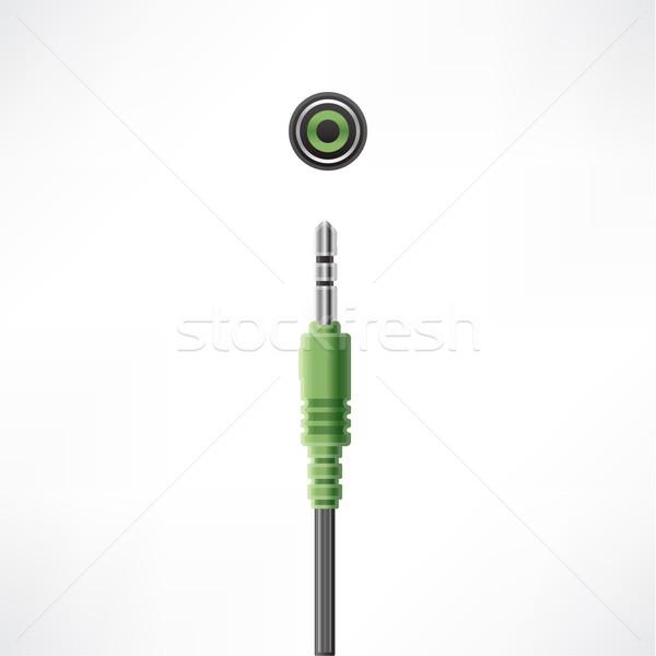 コンピュータケーブル プラグイン ヘッドホン ソケット コンピュータ ハードウェア ストックフォト © Vectorminator