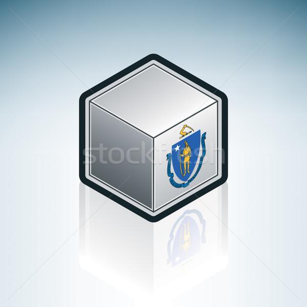 Массачусетс флаг Соединенные Штаты Америки 3D изометрический Сток-фото © Vectorminator
