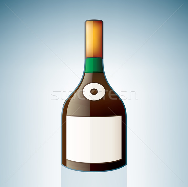 Brandy bouteille alcool verre bleu Photo stock © Vectorminator