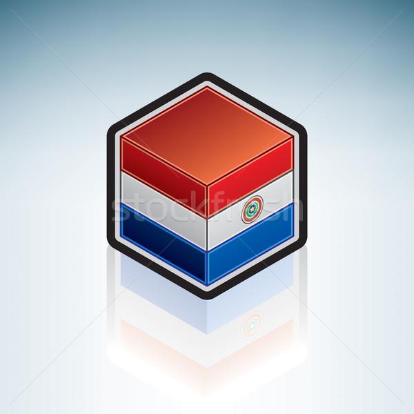 Paraguay dél-amerika zászló köztársaság 3D izometrikus Stock fotó © Vectorminator