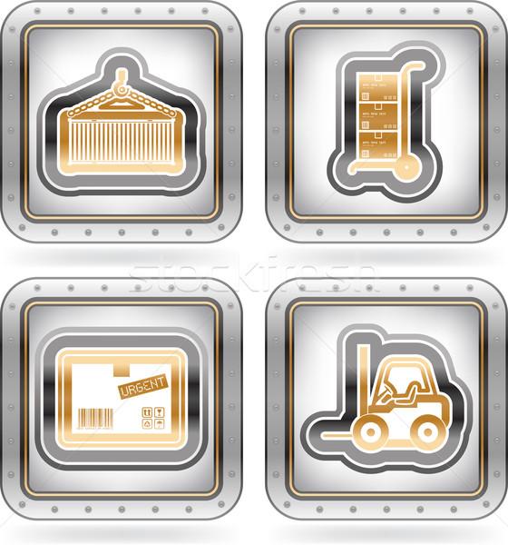промышленности иконки здесь право Сток-фото © Vectorminator