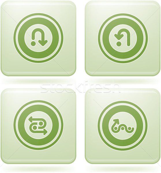 Olivine Square 2D Icons Set: Abstract & Directions Stock photo © Vectorminator