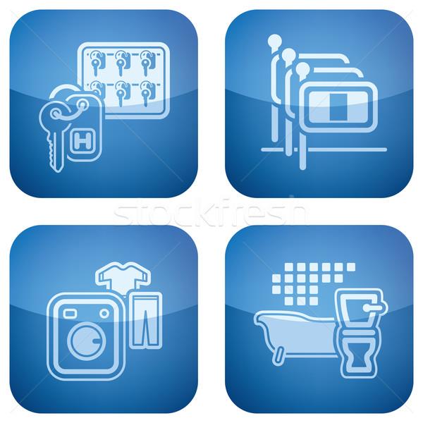 Cobalt 2D Squared Icons Set: Hotel Stock photo © Vectorminator