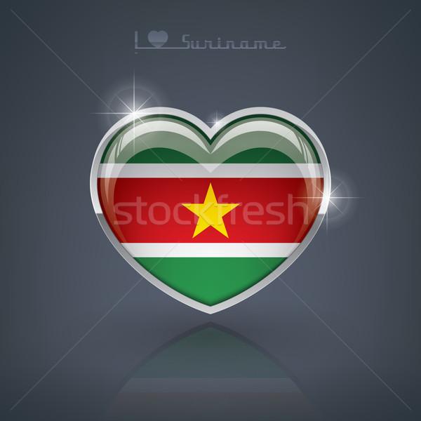Суринам формы сердца флагами республика сердце Сток-фото © Vectorminator