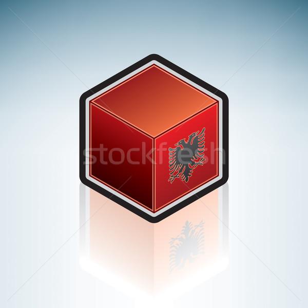Foto stock: Albânia · europa · bandeira · república · 3D · isométrica