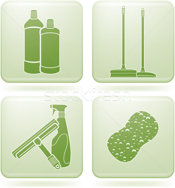Olivine Square 2D Icons Set: Cleaning Stock photo © Vectorminator