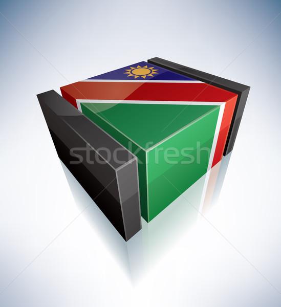 3D bayrak Namibya Afrika cumhuriyet bayraklar Stok fotoğraf © Vectorminator