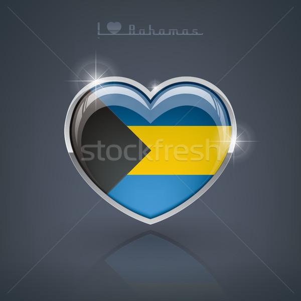 Bahamák fényes szív alak zászlók szív mű Stock fotó © Vectorminator