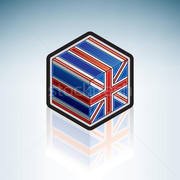 Wielka brytania Europie banderą 3D izometryczny stylu Zdjęcia stock © Vectorminator