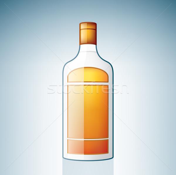 Gin üveg alkohol üveg ikon szett ital Stock fotó © Vectorminator