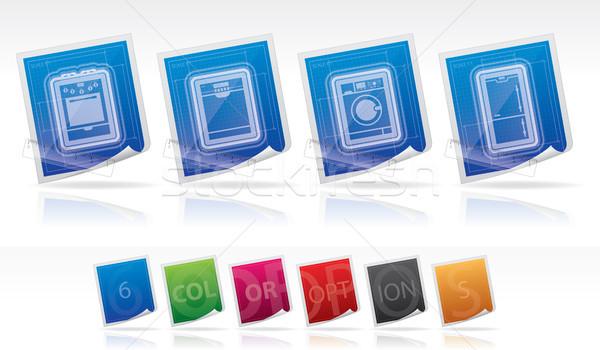 Huis objecten top bodem gas Stockfoto © Vectorminator