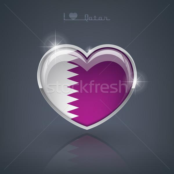 Katar kształt serca flagi serca Zdjęcia stock © Vectorminator