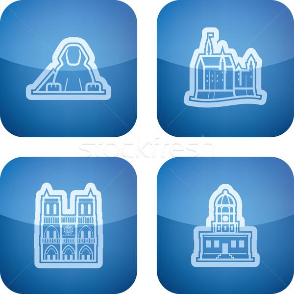 Világ híres építészet körül itt helyes Stock fotó © vectorminator