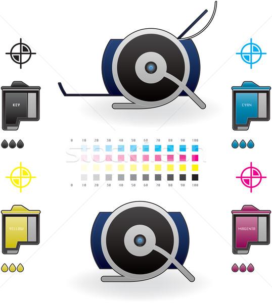Tintasugaras nyomtató otthon szín fotó oldalnézet Stock fotó © Vectorminator