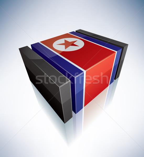 Stok fotoğraf: 3D · bayrak · Asya · demokratik · halklar · cumhuriyet