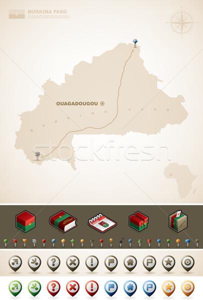 ストックフォト: ブルキナファソ · アフリカ · マップ · プラス · 余分な · セット