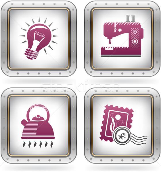 Сток-фото: Интернет · иконы · швейные · машины · чайник · штампа · цветами