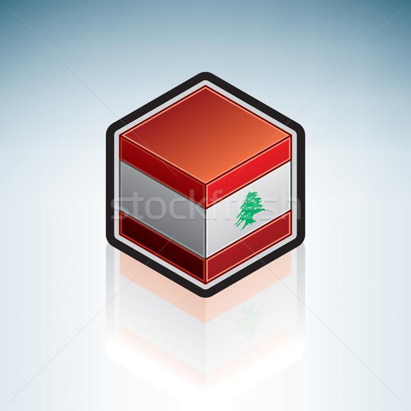 Libanon asia vlag republiek 3D isometrische Stockfoto © Vectorminator