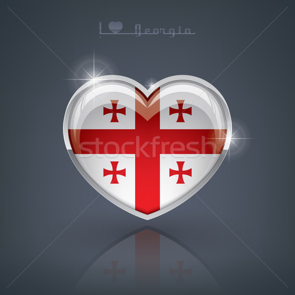 Georgia parlak kalp şekli bayraklar kalp Stok fotoğraf © Vectorminator