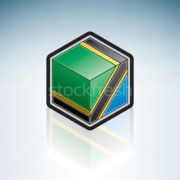 Tanzánia Afrika zászló köztársaság 3D izometrikus Stock fotó © Vectorminator