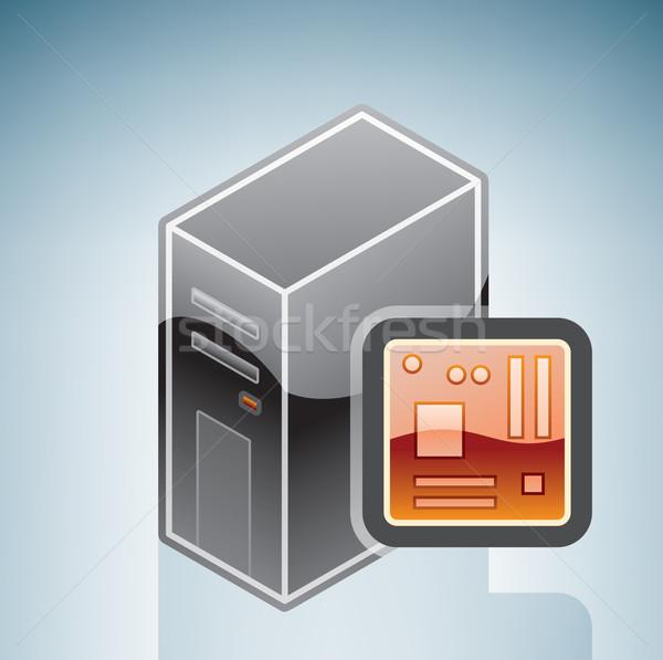コンピュータ マザーボード アイソメトリック 3D ハードウェア ストックフォト © Vectorminator