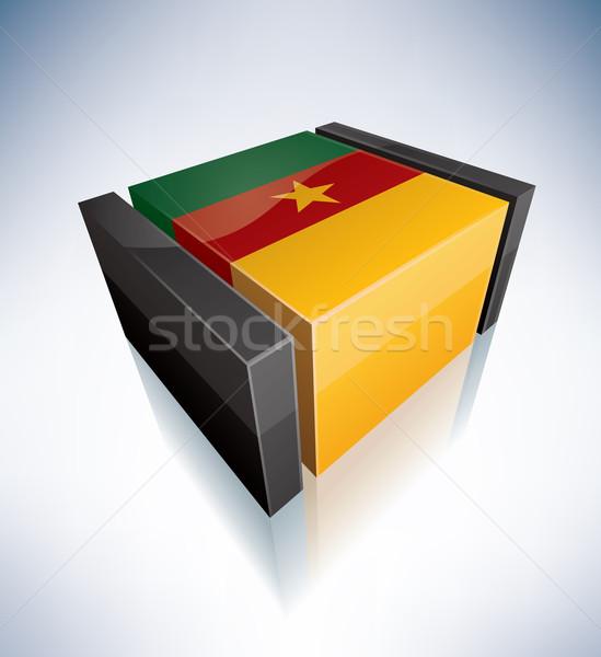 3D banderą Kamerun Afryki republika flagi Zdjęcia stock © Vectorminator