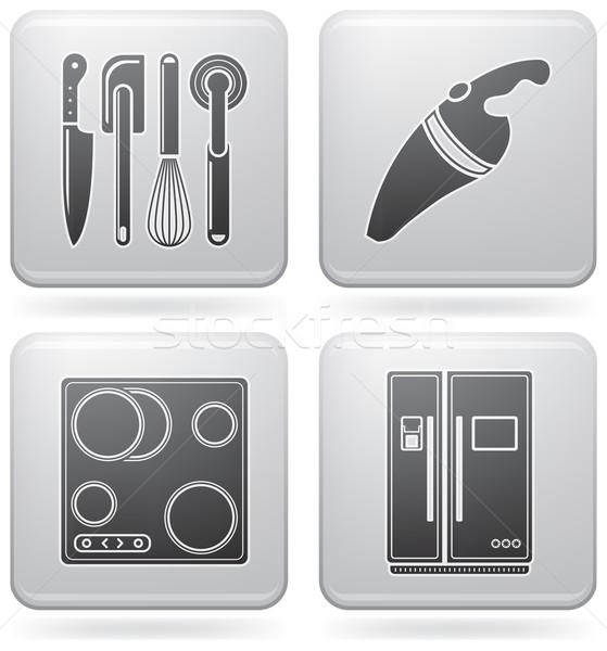 Stockfoto: Keuken · alledaags · tools · platina · vierkante