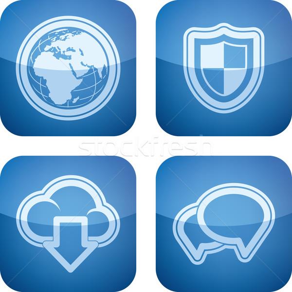 Internet pictogrammen web interface iconen hier Stockfoto © Vectorminator