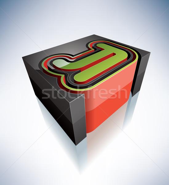 3D levelek ábécé nagybetű ikon szett összes Stock fotó © Vectorminator