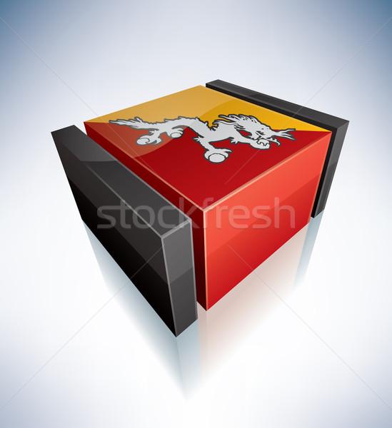 3D vlag Bhutan vlaggen caribbean koninkrijk Stockfoto © Vectorminator