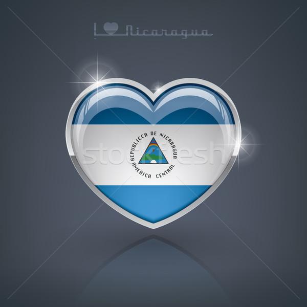 Stockfoto: Nicaragua · glanzend · hartvorm · vlaggen · republiek · hart