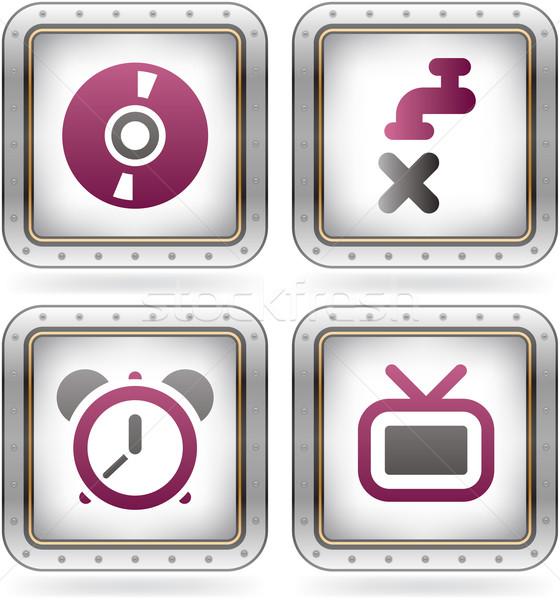 Сток-фото: Интернет · иконы · нет · водопроводный · кран · икона · таймер · телевизор