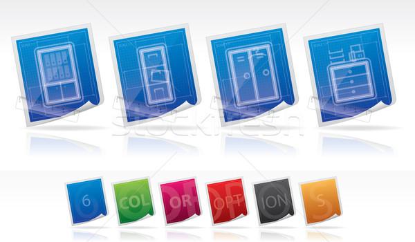 Stock fotó: Iroda · ellátás · ikon · szett · vektor · mű · színek