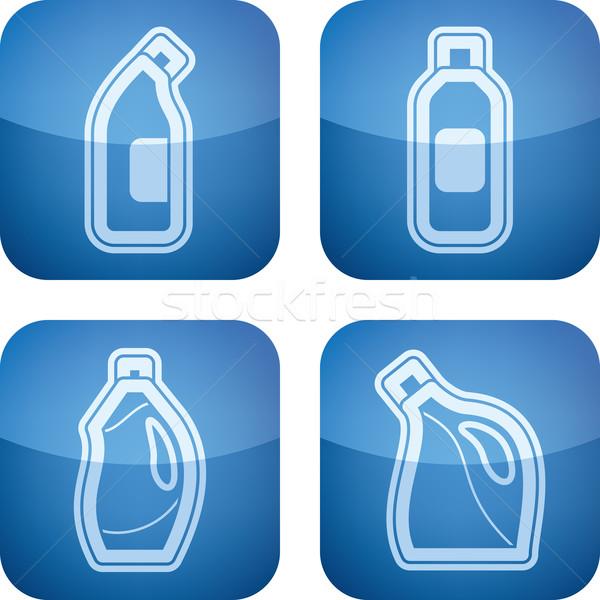Temizlik mutfak nesneler doğru çamaşır suyu şişe Stok fotoğraf © Vectorminator