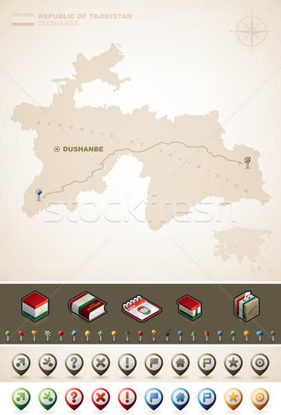共和國 塔吉克斯坦 亞洲 地圖 額外 商業照片 © Vectorminator