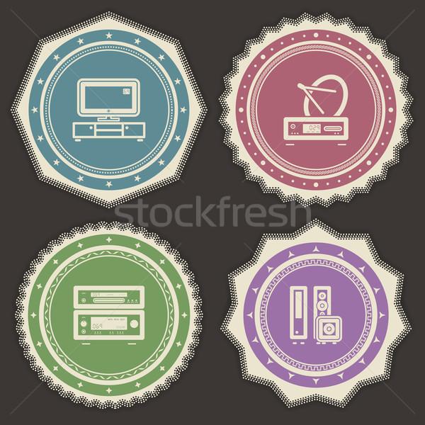 Ház tárgyak helyes televízió LCD szett Stock fotó © Vectorminator