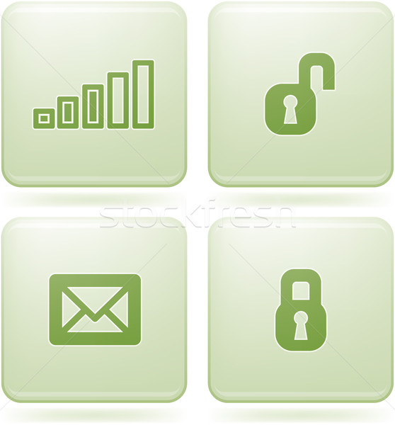 Olivine Square 2D Icons Set: Phone display Stock photo © Vectorminator