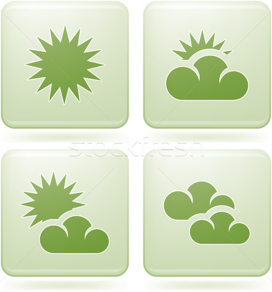 Stock photo: Olivine Square 2D Icons Set: Weather & Arrows