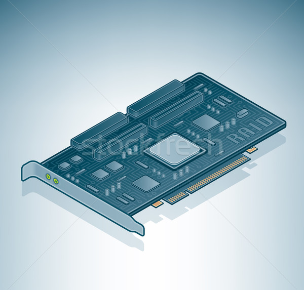 Сток-фото: ПК · карт · изометрический · 3D · компьютер · аппаратных