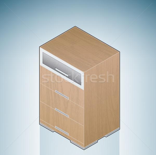 Meubles chambre poitrine tiroirs verre 3D Photo stock © Vectorminator